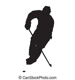 スケート, シルエット, 氷, プレーヤー, ベクトル, ホッケー, 正面図