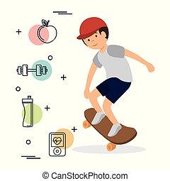 スケート, スポーツ, 板, 人, アイコン