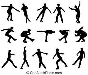 スケート, セット, シルエット, 数字, 人を配置する