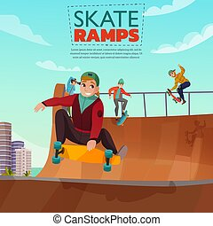 スケート, タラップ, 漫画, イラスト