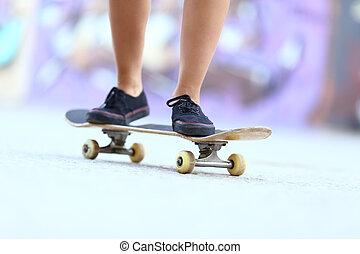 スケート, ティーネージャー, スケーター, 女の子, 足, 板