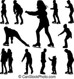 スケート, ベクトル, シルエット