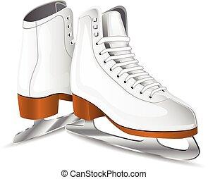 スケート, ベクトル, 白, 数字