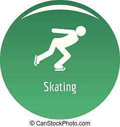 スケート, ベクトル, 緑, アイコン