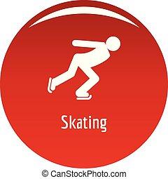 スケート, ベクトル, 赤, アイコン