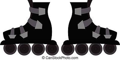 スケート, ベクトル, 黒い背景, ローラー, 白, イラスト