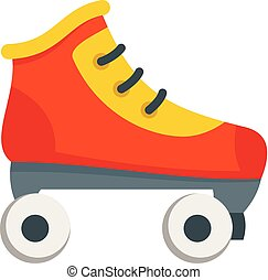 スケート, ローラー, スタイル, アイコン, 平ら