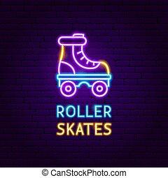 スケート, ローラー, レトロ, ラベル, ネオン