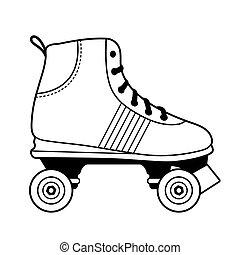 スケート, ローラー, 白, 黒, アウトライン