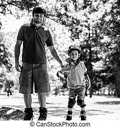 スケート, 公園, 父, ローラー, 息子