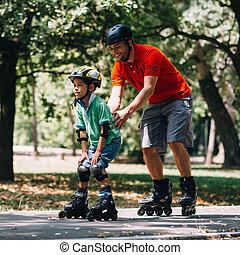 スケート, 公園, 父, teching, 息子, ローラー
