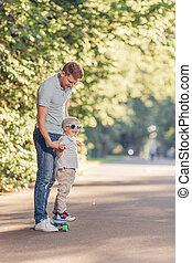スケート, 公園, 若い 家族