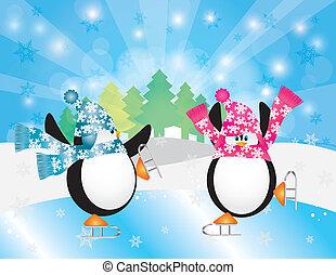 スケート, 冬場面, イラスト, ペンギン, 氷, 対