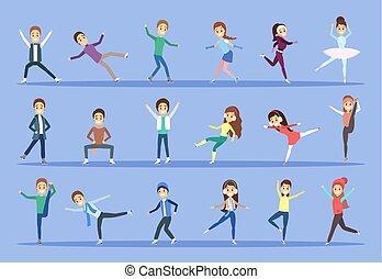 スケート, 別, セット, 人々, 氷, ポーズを取る