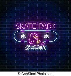 スケート, 地域, skatepark, スケートボード, 印。, ネオン, シンボル, 白熱, ローラー, style...