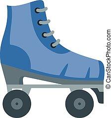 スケート, 型, ローラー, スタイル, アイコン, 平ら