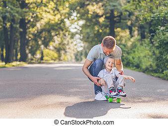 スケート, 夏, 父, 息子