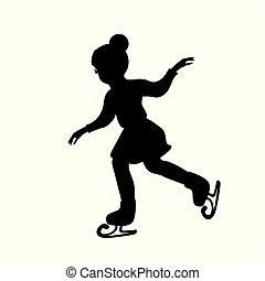 スケート, 女の子, シルエット, 冬の氷