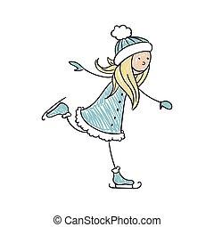 スケート, 女の子, ベクトル, 氷