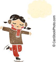 スケート, 女の子, レトロ, 氷, 漫画