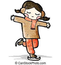 スケート, 女の子, 漫画, 氷