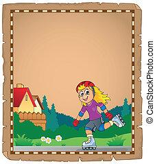 スケート, 女の子, 羊皮紙, ローラー