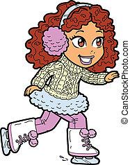 スケート, 女の子, 若い, 氷
