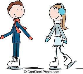 スケート, 子供, 氷, 幸せ