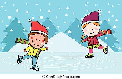スケート, 子供, 氷