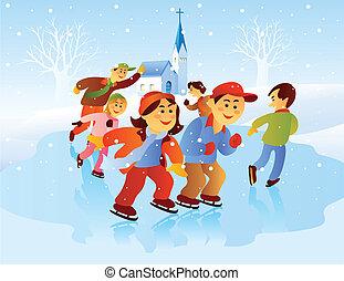 スケート, 子供, 遊び, 氷