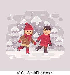スケート, 山, わずかしか, 子供, 冬, 平ら, 2, イラスト, lake., 氷
