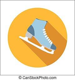 スケート, 平ら, 氷, アイコン