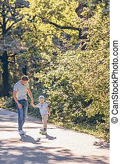 スケート, 息子, 父, 屋外で