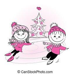 スケート, 木, クリスマス, 家族, 幸せ