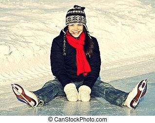 スケート, 楽しみ, 氷, 屋外で