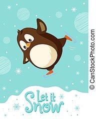 スケート, 氷, クリスマス, スケート, ペンギン, 鳥, リンク