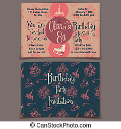 スケート, 氷, birthday, 招待, カード, パーティー