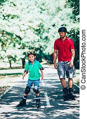 スケート, 父, 公園, ローラー, 息子