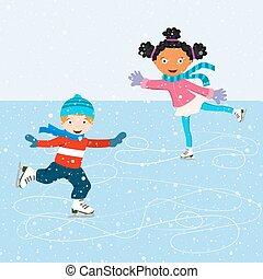 スケート, 現場, 子供, 冬