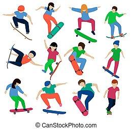 スケート, 男の子, セット, スケーター, 特徴, 人々, skatepark, スケートボード, 隔離された, ...