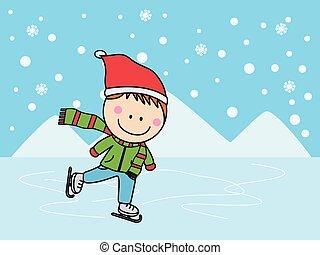 スケート, 男の子, 氷