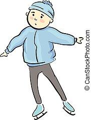 スケート, 男の子, 若い, イラスト, ベクトル, 氷