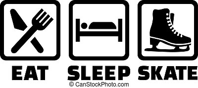 スケート, 睡眠, 食べなさい, 氷