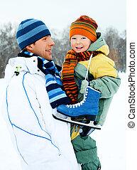 スケート, 行きなさい, 父, 氷, 息子