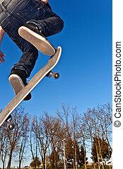 スケート, 行く, 板, 空輸
