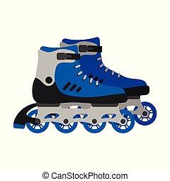 スケート, 隔離された, イラスト, バックグラウンド。, ベクトル, 靴, スケート, 対, 白, wheels., ローラー