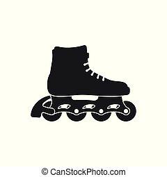スケート, 隔離された, イラスト, バックグラウンド。, ベクトル, 靴, スケート, 白, wheels., ローラー, アイコン