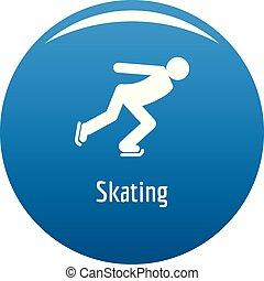 スケート, 青, ベクトル, アイコン