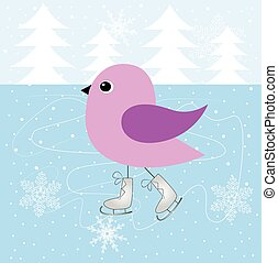 スケート, 鳥, 氷