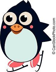 スケート, illustartion, ベクトル, ice., ペンギン